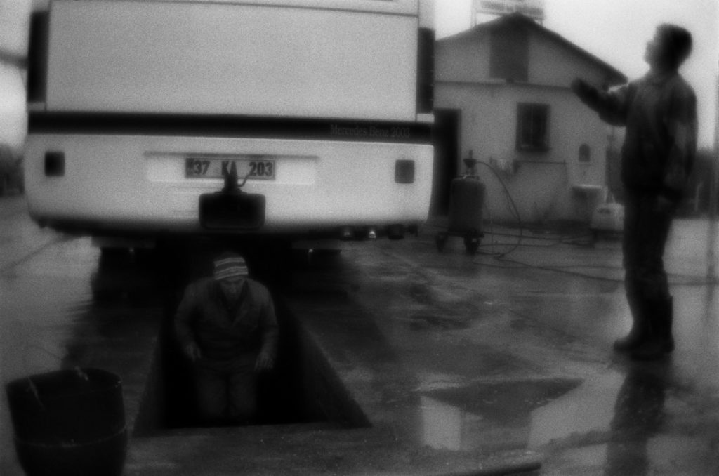 Long-distance bus washing near Tosya town. Turkey, 05.01.2011