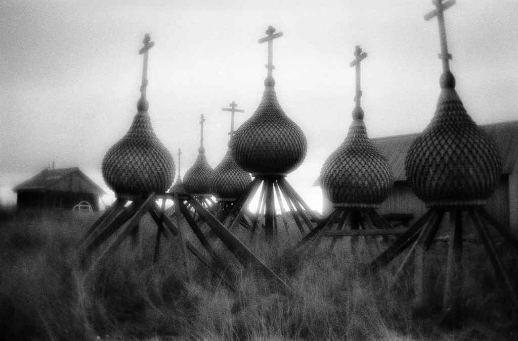 The domes prepared for a wooden church in the village of Varzuga
